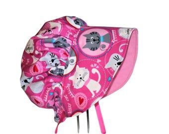 Baby Bonnet, Baby Sun Bonnet, Pink Kitty Baby Girl Sun Bonnet, Summer Bonnet, Cotton Hat, Toddler Bonnet, Newborn Bonnet, Made To Order