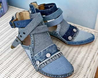 Women's ankle boots, Decorated boots, Strappy denim boots, Size 9 embellished booties, denim studded boots, hippie booties, Bohemian denim