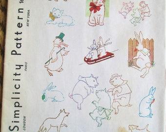 Vintage 1940's Simplicity Transfer Pattern Embroidery  #1679 Animals Sheets Uncut Unused Designs Vintage Sewing  Vintagelady7