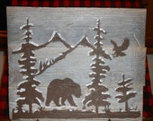 """Rustic, Reclaimed Wood Art - Bear and Eagle on Snow Covered Trees and Mountains - 12"""" x 10"""""""