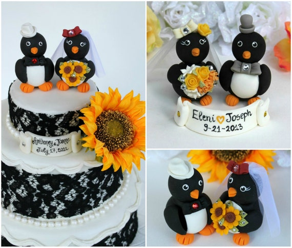 Penguin wedding custom cake topper, love birds bride and groom with banner, cowboy wedding cake topper, sunflower wedding, rustic country