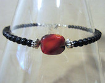 Glass Bead Anklet, Jet Black Red Swirl Bead & Silver Accent Anklet, Plus Size Ankle Bracelet, Red and Black Jewelry, Handmade Beaded Jewelry