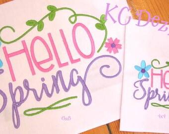 Hello Spring Word Art Machine Embroidery Design - 4x4, 5x7 & 6x8