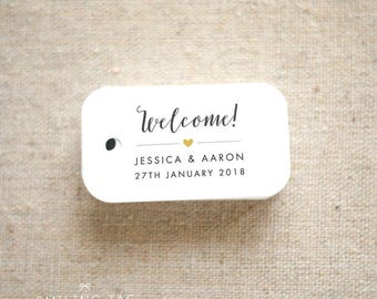 Welcome Wedding Favor Tags - Destination Wedding Personalized Gift Tags Bridal Shower Party Thank you tags - Set of 40 (Item code: J623)