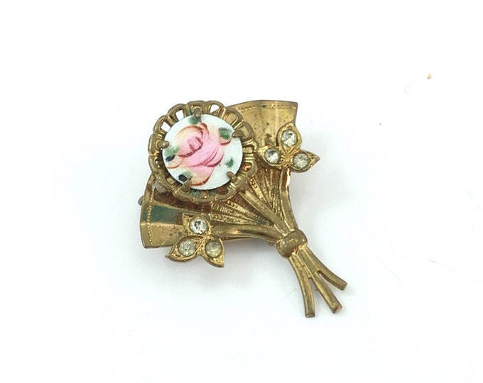 Antique vintage Coro guilloche brooch scatter pin, fan brooch white and pink roses guilloche, rhinestones coro brooch. Nice