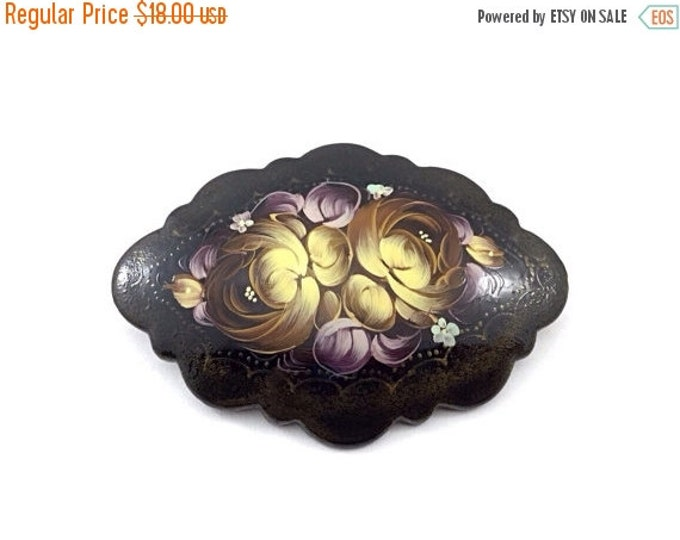 25% OFF Large vintage russian handpainted floral brooch oval form black decorated enameling leaves flowers gold yellow  purple