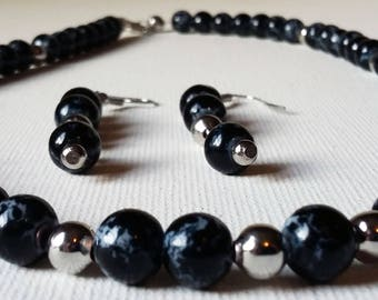 Black and Sterling Silver Beaded Necklace and Earring Set