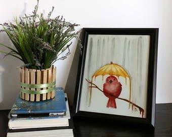 "Red Bird Art Print - Yellow Umbrella - Happy Bird - Red and Yellow - 8"" x 10"" Art Print - Watercolor Art - Babys Room - Nursery Art - Child"