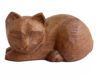 hand carved cat, folk art kitten, cat art, wooden animal, decorative cat, cat figurine