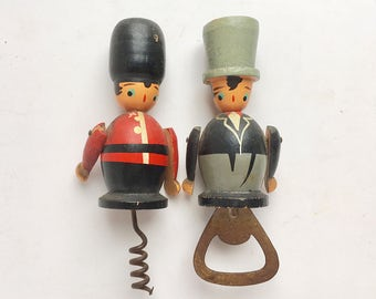 Coldstream Guard Soldier Corkscrew and gentleman bottle cap opener in top hat hand painted vintage bar ware articulated wood