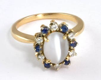 Vintage 14kt Gold Moonstone, Sapphire, Diamond Ring - Ladies size 7 - Moonstone Engagement Ring - Multistone Ring