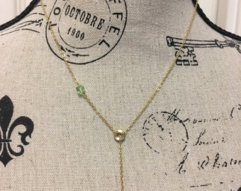 AUGUST Gold Birthstone Lariat Necklace Y Necklace  - Peridot