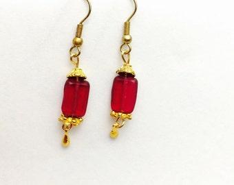 Red Earrings, Beaded, Art Deco, Gold Tone, Romantic, Dangling, Hand Made,  Item No. B301