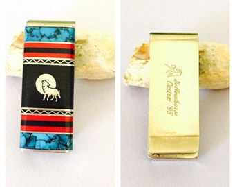 Vintage Yellow horse Money Clip, howling wolf, nickel silver, inlay stones, native design, Gift for Him, Item No. S088