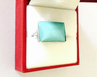 Vintage Turquoise Silver Ring size 5. Bohemian design, Item No. S120