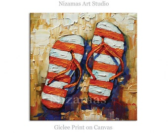Art on canvas Orange Flip Flops Giclee PRINT Gift Modern Home Decor ready to hang