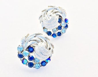 Beautiful Vintage CORO Signed Sapphire Colored Rhinestone Clip on Earrings