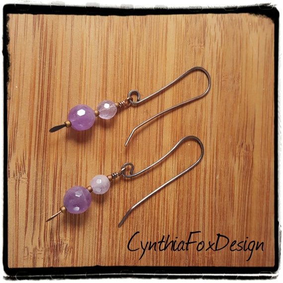 Amethyst Earrings, February Birthstone, Faceted Amethyst Orbs, Foxxy Jewelry from CynthiaFoxDesign