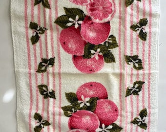 Vintage Set of 2 Pink Grapefruit Terrycloth Kitchen Towels by Cannon