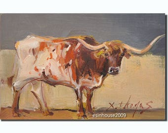 Original oil painting Texas Longhorn cow 12 x18cm by X.thmoas