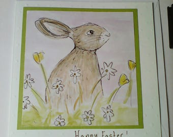 Hand drawn Easter bunny card, hand painted Easter card, handmade Easter bunny card, watercolour Easter card, drawn rabbit, painted rabbit