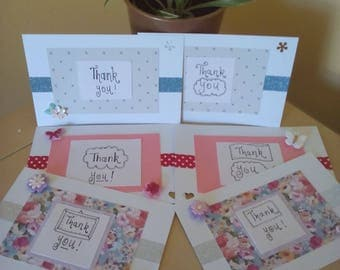6 thank you postcards, handmade thank you notecards, set of thank you postcards, coloured envelopes and cards, floral thank you cards