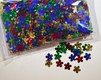 5 Pointed Sequins, Metalic Embellishments in Gold, Red, Blue, Green, Floral, Snowflake, Star Sequins