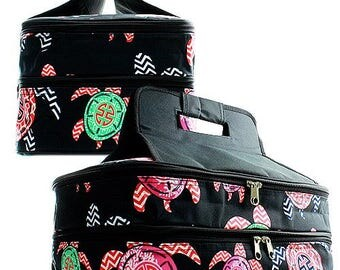 Personalized Casserole Carrier, Double Insulated Casserole Bag, Sea Turtles Print Casserole Carrier,  Embroidered Casserole Tote