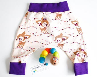 Baby harem pants, deers ORGANIC, gold glitter, deer, newborn, 0-3, 3-6m, 6-12m months, various sizes, new baby gift, baby shower, trousers