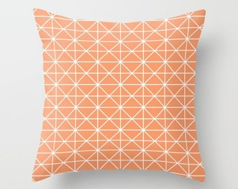 36 colours, Geometric Lines, Triangles Pattern Pillow, Peach Rose, Nordic pillow, Faux Down Insert, Scandinavian, Indoor or Outdoor cover