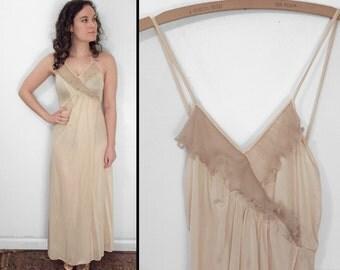 Surplice Ruffle Nightgown 70s Small Spaghetti Strap V Jersey