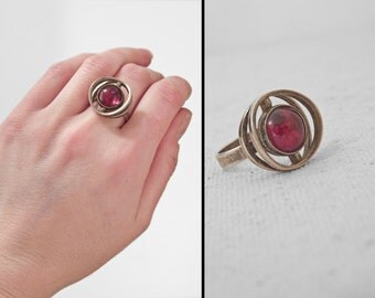 1950s AMBER Ring Engberg Cherry Silver Size 7 Modernist Atomic Age Scandinavian