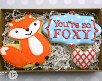 Valentine's Day Sugar Cookies Box Set You're so Foxy
