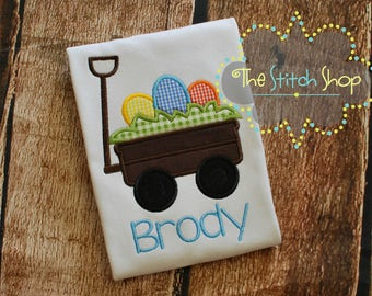 Easter Egg Wagon Appliqued and Monogrammed Shirt