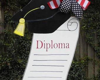 Graduation Cap Door Hanger, Diploma Door Hanger, Kindergarten Graduation, Graduating Senior, 2017 School Year