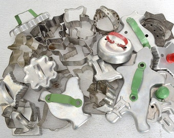 Vintage Aluminum and Tin Cookie Cutters, Lot of 32 Pieces in Various Shapes and Sizes