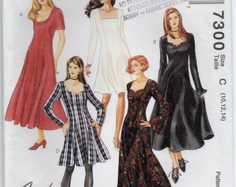 Princess Seamed Dress Long Or Short Sleeves Neckline Variations Size 10 12 14 Sewing Pattern 1994 McCall's 7300