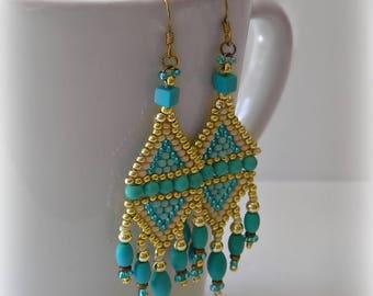 Chandelier Earrings With Fringe  - Chalk Turquoise Gem Beads & Gold Accents ( RESERVE LISTING for Janet only)
