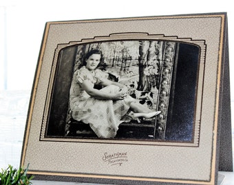 Vintage Photograph Young Woman Art Deco Frame 8.75 x 7.75 Inches