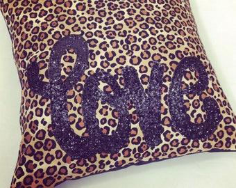 Love Pillow, love leopard print cushion, leopard print, glitter love