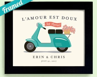 French Honeymoon Gift Motor Scooter Framed Wedding Gift Paris Honeymoon Wedding in France Tandem Bike Just Married Sign