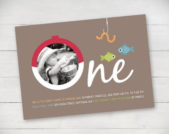 Gone Fishing Birthday Invitation - Digital File