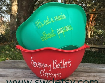 Personalized POPCORN Bowl, Fathers Day Gift, Hostess Gift, Summer, Christmas Gift