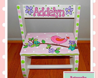 Baby Bird Theme Step Stool- Hand painted and Personalized