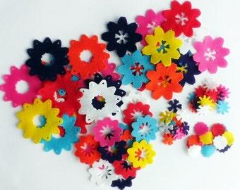 Felt flowers, felt flowers shapes, felt die cut, felt supplies, DIY flowers, embellishment, flower embellishments, Applique, set of flowers