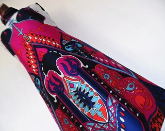 SALE :) FRANCE . Baroque Gem! . Show Stopping Art Nouveau Print Midi Dress 70s M