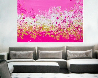 Large painting, Extra Large wall art, Abstract painting in Pink and Gold art on unstreched canvas, Custom Made to order by Heroux