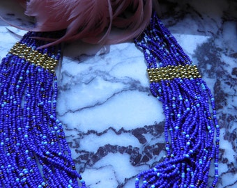 Long Cobalt Blue Glass Beads, Multi Strand.  Very French By Design.