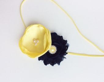 navy yellow baby headband girl headband baby girl headband baby headbands flower girls women headbands vintage inspired