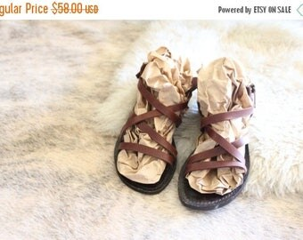 SALE Vintage Strappy Chocolate Leather Sandals Sz 10